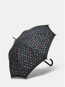 Čierny vystreľovací dáždnik s motívom srdiečok Esprit