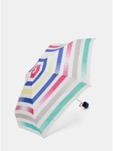 Biely skladací pruhovaný dáždnik Esprit