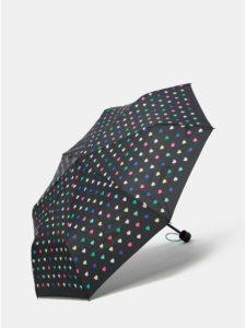 Čierny skladací dáždnik s puzdrom 2v1 Esprit