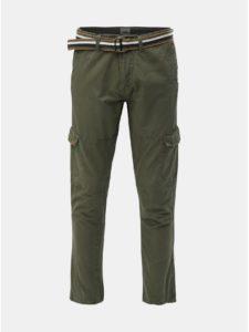Kaki regular fit nohavice s vreckami a opaskom Blend