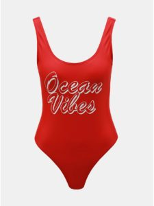 Červené jednodielne plavky Pieces Benice