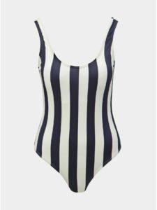 Bielo–modré pruhované jednodielne plavky Pieces Bea