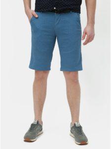 Modré vzorované slim fit kraťasy s opaskom Lindbergh