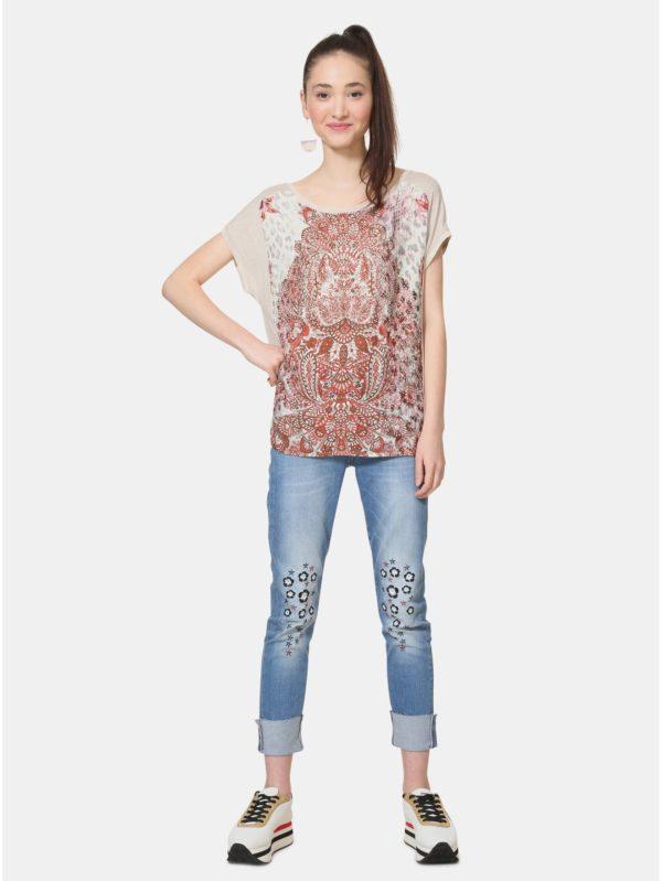 Béžové vzorované tričko s kamienkami Desigual Arapajóes