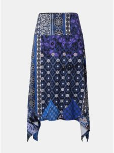 Tmavomodrá vzorovaná sukňa Desigual Katherine