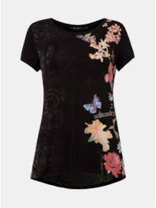 Čierne kvetované tričko s vsadkou Desigual Panama