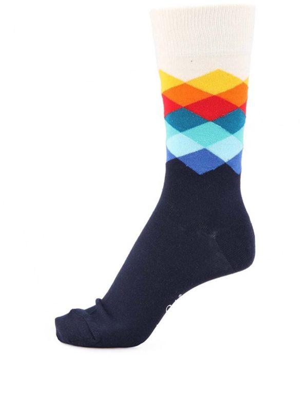 Bielo-modré unisex ponožky s farebnými kockami Happy Socks Faded Diamond