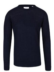Tmavomodrý ľahký vlnený sveter s dlhým rukávom Lindbergh