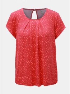Červené bodkované tričko s prestrihom na chrbte ONLY Nice