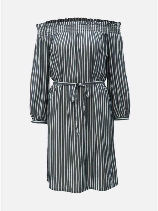 Tmavomodré pruhované šaty ONLY Samantha