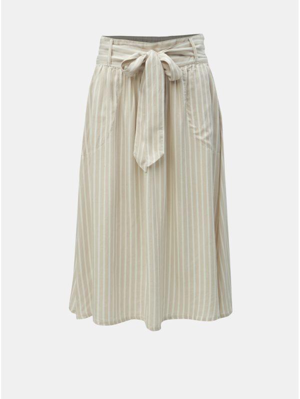 Béžová pruhovaná sukňa ONLY Manhattan