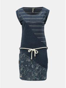 Tmavomodré vzorované šaty s opaskom Ragwear Tag Stripes Oragnic