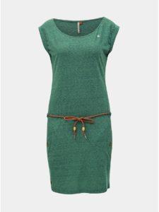 Zelené melírované šaty s opaskom Ragwear Tag