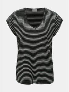 Čierne pruhované basic tričko VERO MODA AWARE Ava