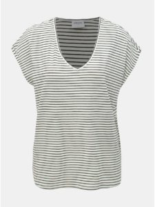 Biele pruhované basic tričko VERO MODA AWARE Ava