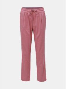 Staroružové ľanové nohavice s vysokým pásom VERO MODA Anna