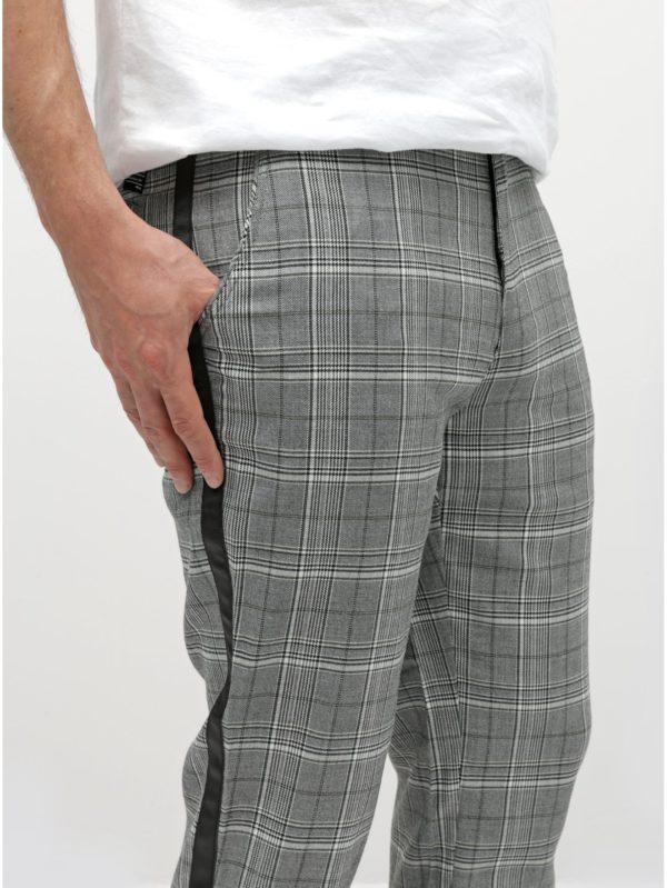 Sivé kockované skrátené chino nohavice Shine Original