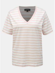Bielo–ružové pruhované basic tričko Selected Femme Standard