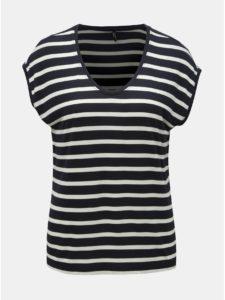 Tmavomodré pruhované basic tričko ONLY Wilma