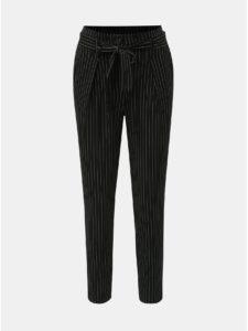 Čierne pruhované nohavice s vysokým pásom ONLY Nicole
