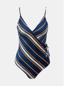 Tmavomodré pruhované jednodielne plavky Roxy