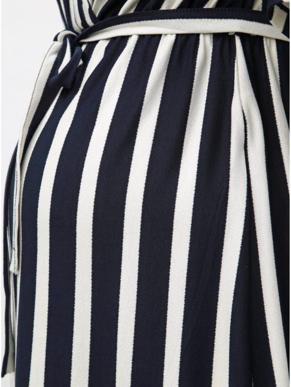 Tmavomodré pruhované tehotenské šaty vhodné na dojčenie Mama.licious