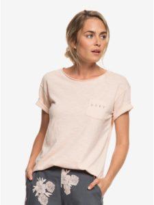 Svetloružové tričko s vreckom Roxy Star Solarb