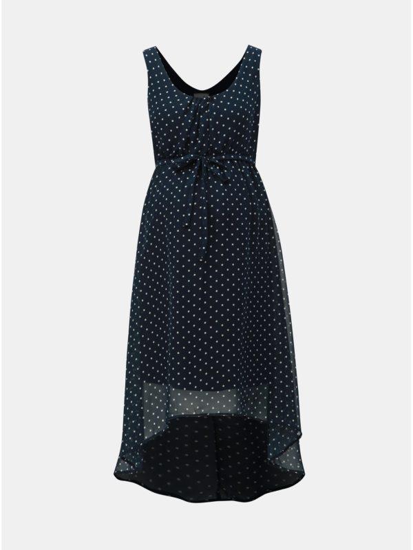 Tmavomodré tehotenské bodkované šaty Mama.licious