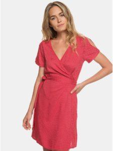 Červené bodkované zavinovacie šaty s prestrihmi Roxy Monument View