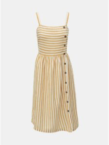 51b8d21e9dba Bielo–hnedé pruhované šaty s prímesou ľanu Dorothy Perkins