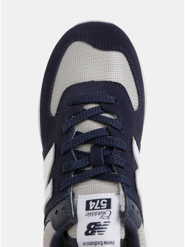 Béžovo–modré pánske semišové tenisky New Balance 574