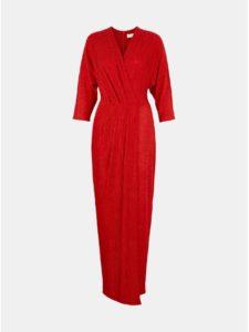 Červené trblietavé pruhované maxišaty Closet