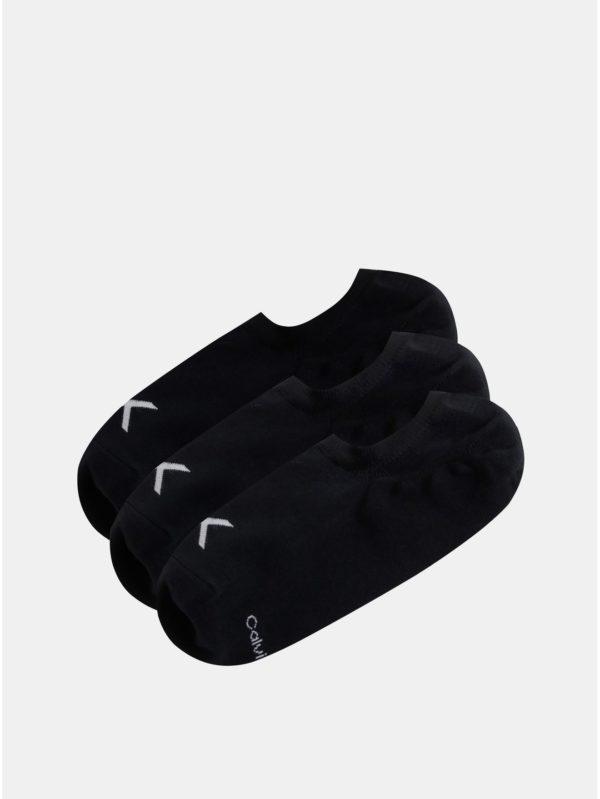 Balenie troch párov čiernych pánskych členkových ponožiek Calvin Klein Jeans