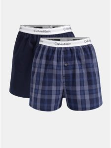 Balenie dvoch pánskych modrých slim fit trenírok Calvin Klein Underwear