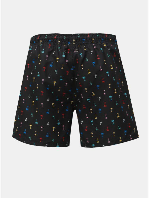 Čierne pánske vzorované plavky Happy Socks Palm Beach