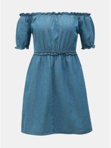 Modré rifľové šaty s odhalenými ramenami Miss Selfridge