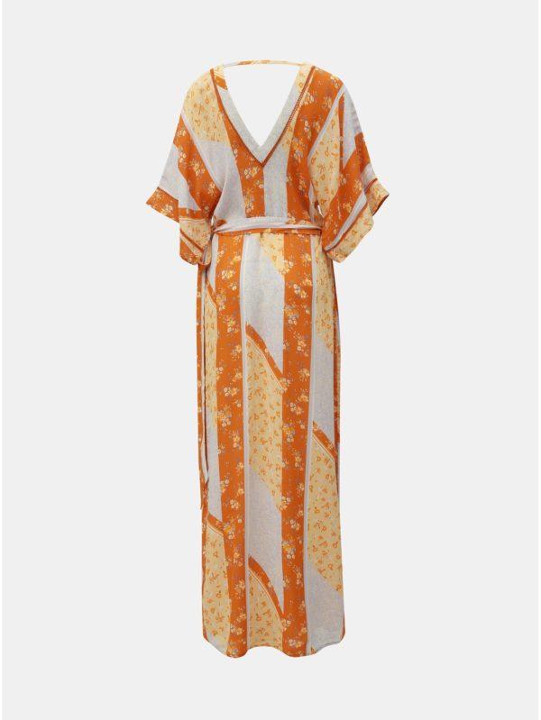 Oranžové kvetované zavinovacie maxišaty Miss Selfridge