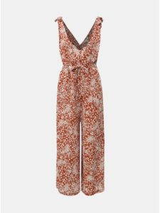 Hnedý kvetovaný overal Miss Selfridge