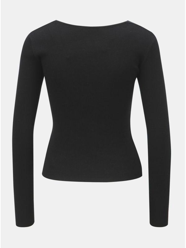 Čierne rebrované tričko TALLY WEiJL