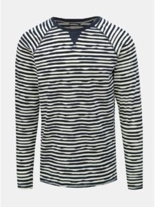 Bielo–modré pruhované tričko s dlhým rukávom Dstrezzed