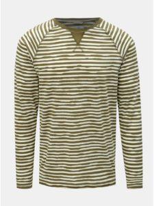 Bielo–zelené pruhované tričko s dlhým rukávom Dstrezzed