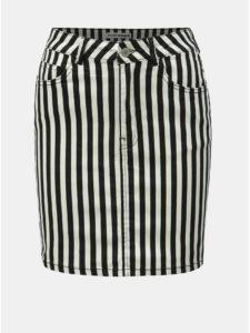Bielo–čierna pruhovaná rifľová minisukňa TALLY WEiJL