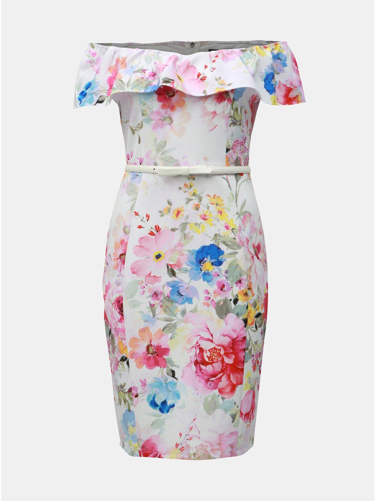 49ac4ab79f5c Biele kvetované puzdrové šaty s odhalenými ramenami Dorothy Perkins ...