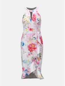 Biele kvetované puzdrové šaty s volánom Dorothy Perkins