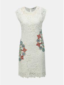 Biele čipkované šaty Desigual Malpaso