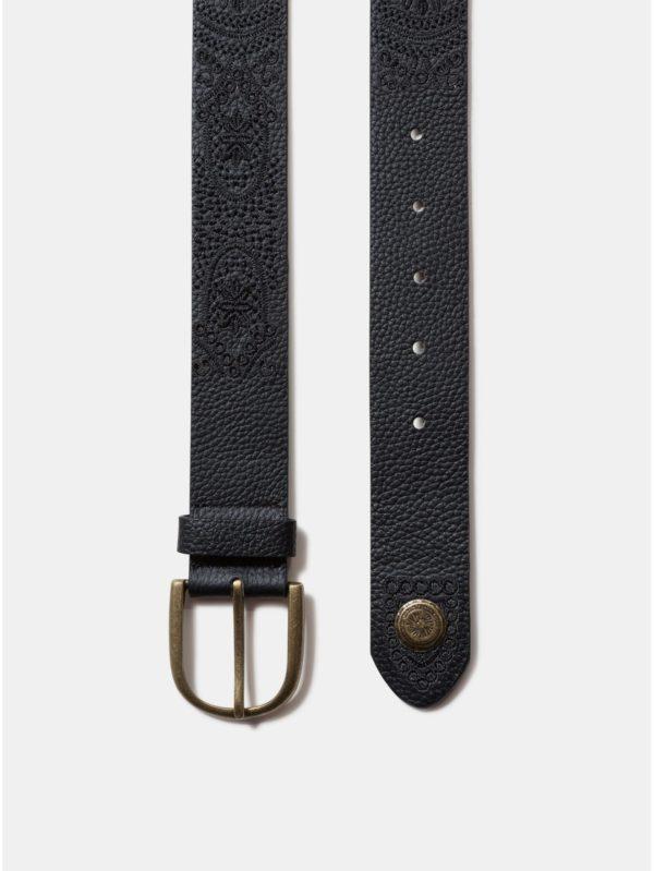 Čierny kožený opasok s výšivkou a ozdobnými detailmi Desigual Everyday One