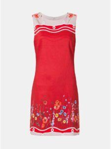 Červené kvetované ľanové šaty Desigual Patrice