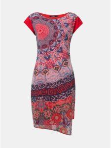 Modro–červené vzorované šaty Desigual Japan