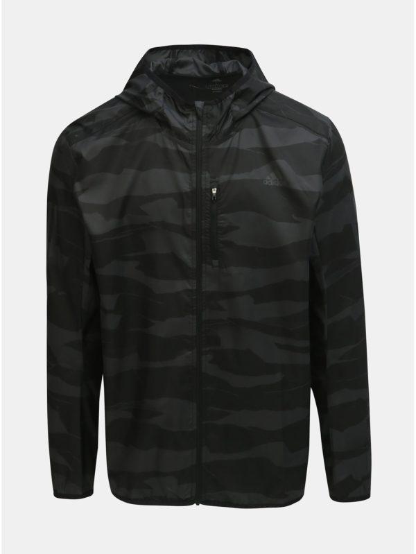 Sivo–čierna pánska vzorovaná bunda adidas Performance Own The Run