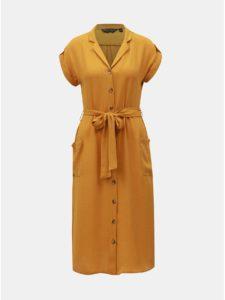 Horčicové košeľové šaty Dorothy Perkins
